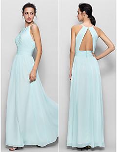 Brautjungfernkleid - Himmelblau Chiffon - Etui-Linie - bodenlang - Juwel-Ausschnitt