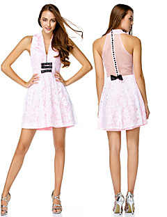 TS Couture Cocktail Party Dress - Candy Pink A-line V-neck Short/Mini Lace / Charmeuse