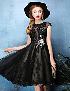 Cocktail Party Dress - Black A-line Jewel Knee-length Lace / Tulle