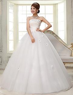 Vestido de Noiva-De Baile Tomara que Caia Longo Renda / Cetim / Tule