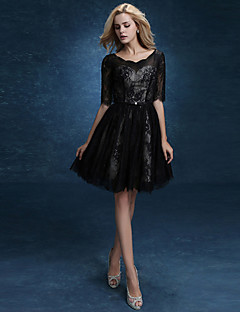 A-line Mother of the Bride Dress-Black Knee-length Lace