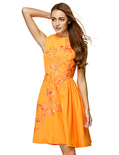 TS Couture Cocktail Party Dress - Orange A-line Jewel Knee-length Chiffon