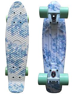 blue floral Grafik gedruckt Kunststoff-Skateboard (22 inch) Cruiser-Board mit ABEC-9 Lager