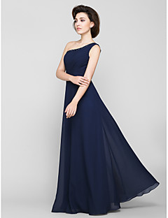 Lanting Bride® A-line Mother of the Bride Dress Floor-length Sleeveless Chiffon with Beading / Side Draping