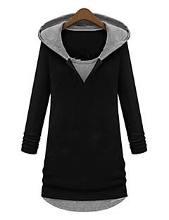 Women's Patchwork Black Hoodies , Casual / Plus Sizes Hooded Long Sleeve