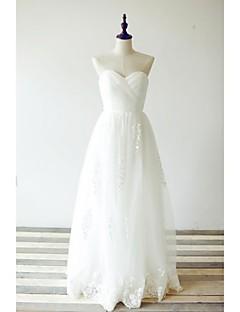A-라인 웨딩 드레스 바닥 길이 스윗하트 레이스 / 튤 와 크리스-크로스 / 자수 장식