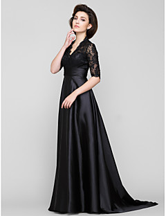 Lanting A-line Mother of the Bride Dress - Black Sweep/Brush Train Half Sleeve Lace / Charmeuse