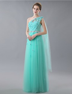Formal Evening Dress A-line One Shoulder Floor-length Tulle with Appliques
