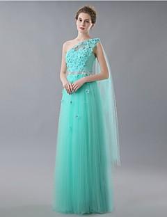 저녁 정장파티 드레스 - 스카이 블루 A라인 바닥 길이 원 숄더 명주그물