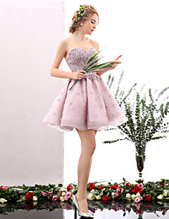 Cocktail Party Dress A-line Sweetheart Short / Mini Tulle with Flower(s) / Pearl Detailing