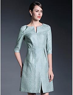 A-linje Knælængde Kjole til brudens mor - Print Halv-ærmet Polyester