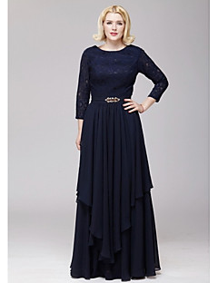 A-line Mother of the Bride Dress - Dark Navy Floor-length Chiffon / Lace