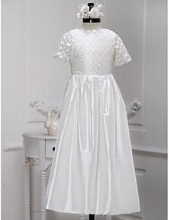 A-line Ankle-length Flower Girl Dress - Lace / Charmeuse Short Sleeve