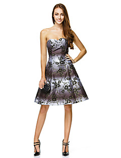 TS Couture Cocktail Party Dress - Print A-line Sweetheart Knee-length Polyester