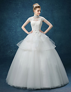 A-line Wedding Dress - White Floor-length High Neck Organza