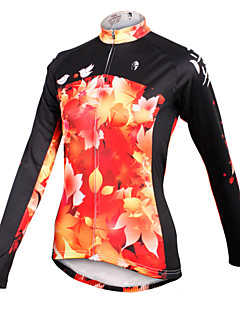 ILPALADINO Cycling Jersey Women's Long Sleeves Bike Jersey Tops Quick Dry Breathable 100% Polyester Leaf Spring Summer Fall/Autumn