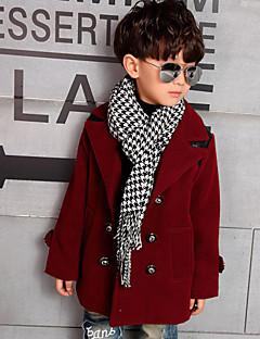 Boy's Cotton Winter Long Sleeve Double-Breasted Splice Pu  Wool Coats Coat.