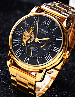 男性用 リストウォッチ 機械式時計 自動巻き 耐水 透かし加工 ステンレス バンド ラグジュアリー ゴールド