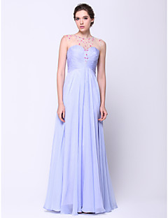 TS Couture® Formal Evening Dress A-line Scoop Floor-length Chiffon / Tulle with Beading