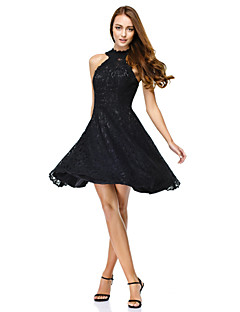 TS Couture® Cocktail Party Dress - Black A-line Jewel Knee-length Lace