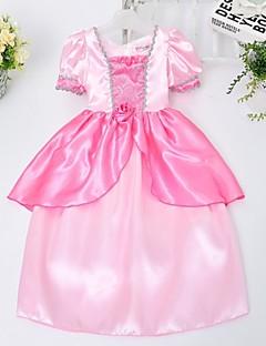 Girl's Solid Dress,Satin All Seasons Pink