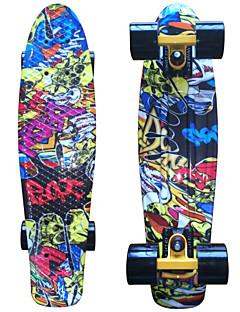 gelbe Schädel-Grafik gedruckt Kunststoff-Skateboard (22 inch) Cruiser-Board mit ABEC-9 Lager