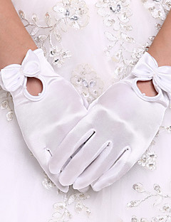 Até o Pulso Com Dedos Luva Elastano Luvas de Noiva Luvas de Festa Primavera Verão Outono Inverno Pérolas Laço