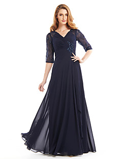 Lanting Bride® A-line Mother of the Bride Dress Floor-length Half Sleeve Chiffon with Beading / Criss Cross