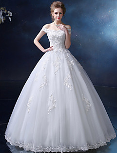 Ball Gown Wedding Dress Floor-length Off-the-shoulder Satin / Tulle with Appliques / Beading / Sequin