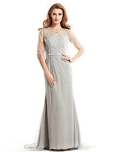 Lanting Trumpet/Mermaid Mother of the Bride Dress - Silver Sweep/Brush Train Half Sleeve Tulle