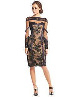 TS Couture® Cocktail Party Dress Sheath / Column Bateau Knee-length Lace / Tulle with Lace