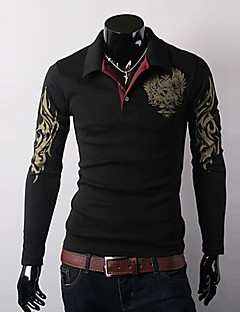 Men's Long Sleeve Polo , Cotton / Polyester Casual / Work / Formal / Sport Print