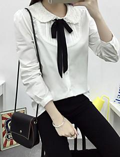 Mulheres Camisa Formal Simples Primavera,Sólido Branco Algodão Gola Peter Pan Manga Longa Média