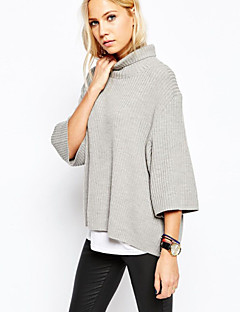 Women's Solid Gray Pullover,Casual / Day Long Sleeve