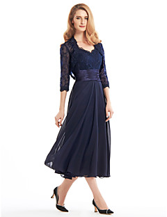 Lanting A-line Mother of the Bride Dress - Dark Navy Tea-length 3/4 Length Sleeve Chiffon / Lace