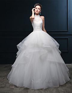웨딩 드레스 - 아이보리(색상은 모니터에 따라 다를 수 있음) 볼 가운 바닥 길이 홀터 튤