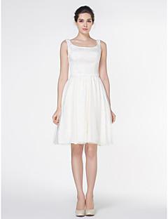 A 라인 웨딩 드레스 - 아이보리 무릎 길이의 사각 새틴 / 얇은 명주 그물