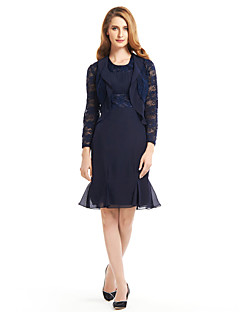 Trumpet/Mermaid Mother of the Bride Dress - Dark Navy Knee-length Long Sleeve Chiffon / Lace