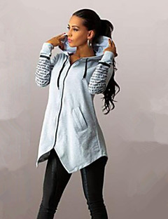 Women's Hot Sale Letter Print Large Size Zipper Hoodies , Casual / Print Hooded Long Sleeve