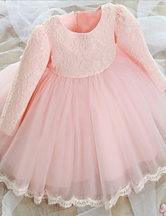 Girl's 66-140cm High Pink / White Dress , Long Sleeve/Satin/Lace