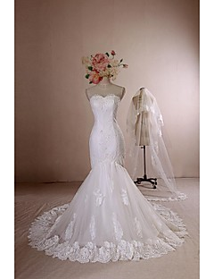 Trumpet/Mermaid Wedding Dress - Ivory Chapel Train Jewel Lace / Satin / Tulle