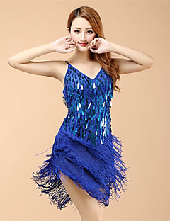 Latin Dance Dresses Women's Performance Organza Sequins / Tassel(s) 1 Piece Dress 98