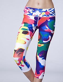 Corrida Fundos / 3/4 calças justas Mulheres Sem Mangas Respirável / Compressão / Redutor de Suor Elastano / Terylene Ioga Rainha YogaWear