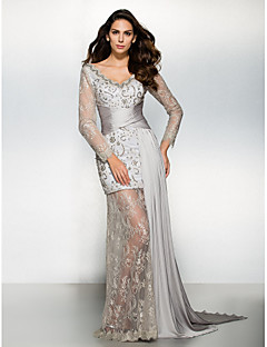 Formal Evening Dress - Silver Sheath/Column V-neck Watteau Train Chiffon / Lace