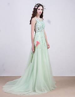 Formal Evening Dress Ball Gown Scoop Sweep / Brush Train Lace with Sequins