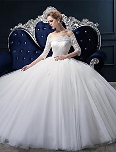 웨딩 드레스 - 아이보리(색상은 모니터에 따라 다를 수 있음) 볼 가운 쿼트 트레인 오프 더 숄더 튤