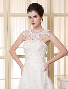 Wraps Wedding Mantelline Senza maniche Pizzo / Tulle / Paillettes Bianco Matrimonio / Da sera OvaleCon perline / Con cristalli / Pizzo /