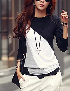 여성의 라운드 넥 긴 소매 티셔츠 면 / 폴리에스테르 / 그외