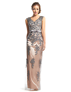 Formal Evening Dress Sheath / Column V-neck Floor-length Lace / Tulle with Lace