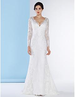 lanting mariée trompette / sirène robe de mariée-balayage / pinceau train v-cou dentelle